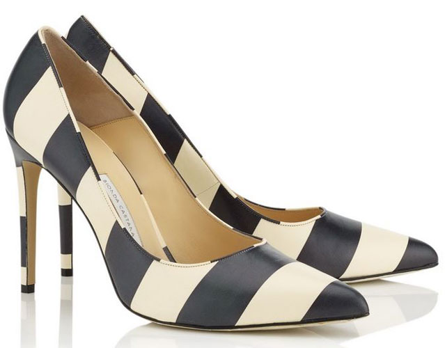 stripe high heels