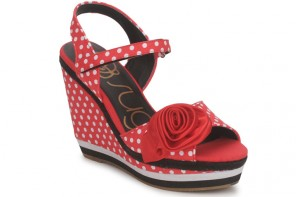 Sugar 'Emerald' red polka dot wedges
