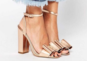 ASOS 'Harmony' gold heeled bow sandals