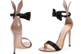 Gianvito Rossi Bow-Tie Ankle-Strap Bunny Sandals
