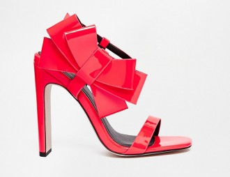 ASOS 'Hysterical' red heeled sandals with bow