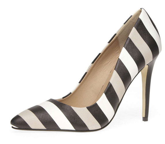 Dorothy Perkins mono stripe pointed court shoes