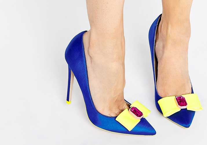 ASOS ' Parade' pointed high heels in blue and yellow