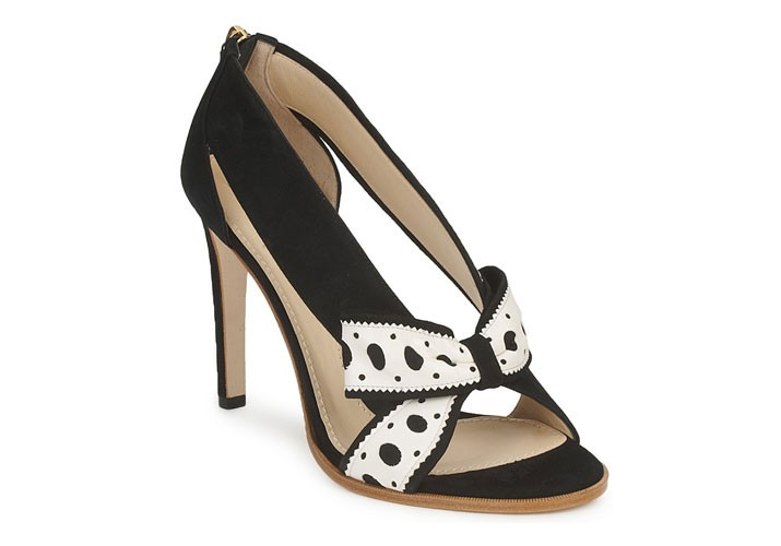Moschino black and white bow sandals