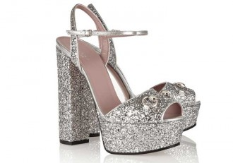 Gucci horsebit-detailed glitter-finished leather platform sandals