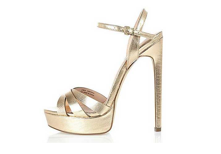 07767608438 Gold platform sandals from River Island  strappy sandals