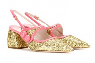 Miu Miu glitter shoes with long pointed toes