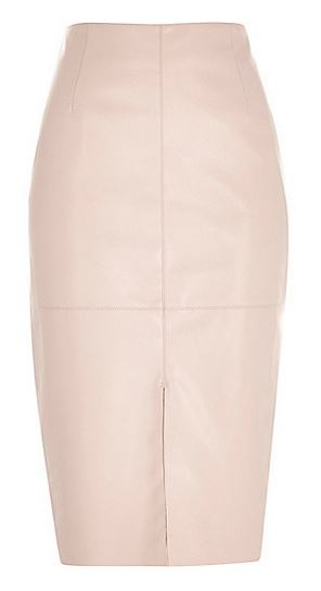 pink leather look pencil skirt