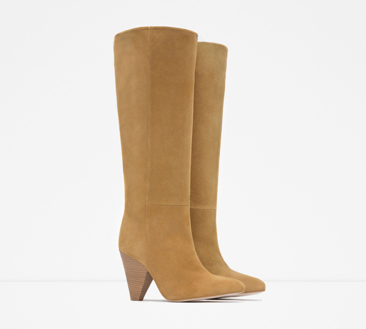 Zara tan suede knee boots with cone heel