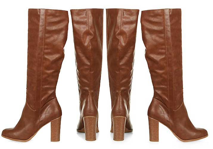 Tan knee high boots on a serious budget