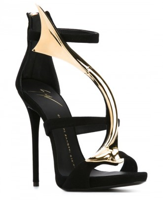 Giuseppe Zanotti black and gold strappy sandals