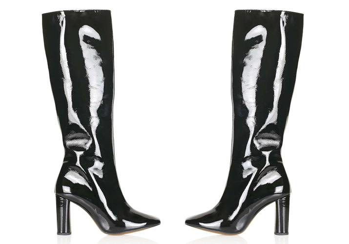 Topshop 'Carrie' black patent knee high boots