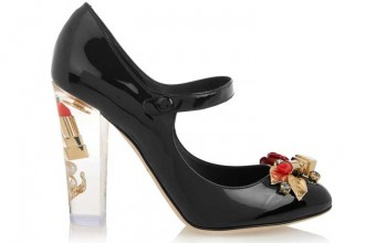 Dolce & Gabbana Embellished patent-leather Mary Jane pumps