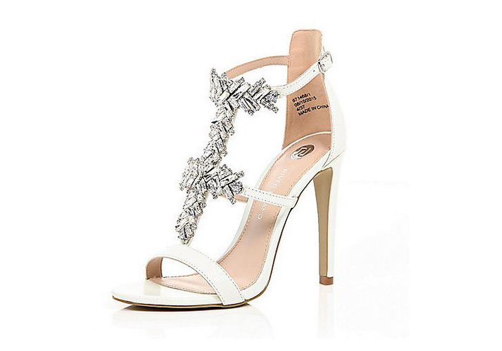 River Island white embellished sandals