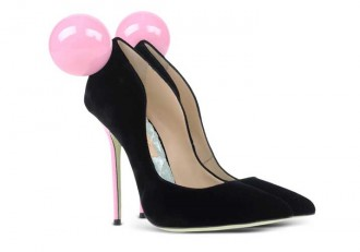 Giannico pink and black high heeled pumps