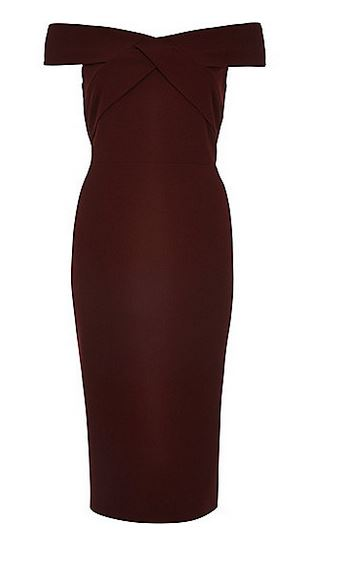 dark red bardot dress
