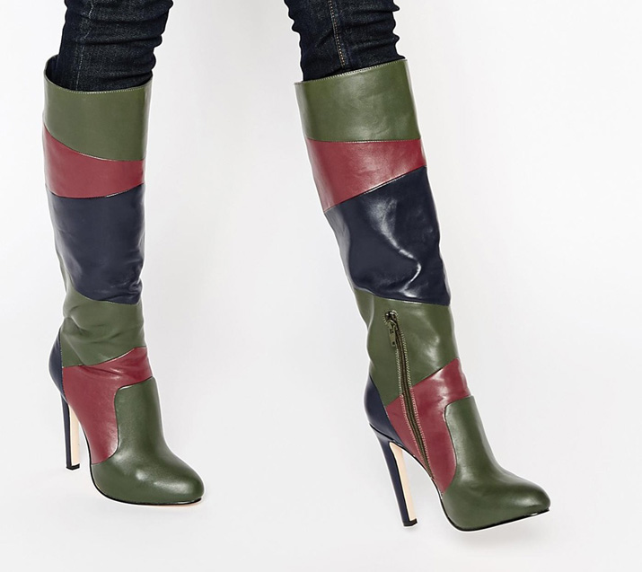 ASOS Collective Patchwork Knee High Boots