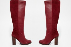 Faith Dark Red Knee Boots