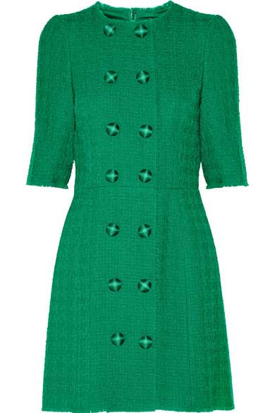 green tweed mini dress