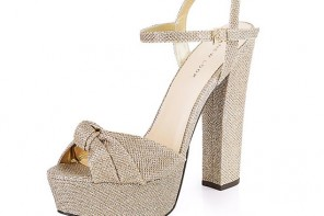 New Look Gold Textured Knotted Platform Heels
