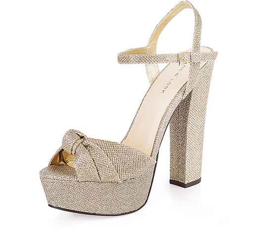 7e0e797493a New Look Gold Textured Knotted Platform Heels   Shoeperwoman