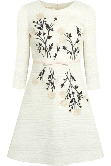 cream cotton applique dress