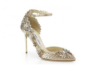 Jimmy Choo Lorelai 100 Floral Glittered Leather Ankle-Strap Pumps