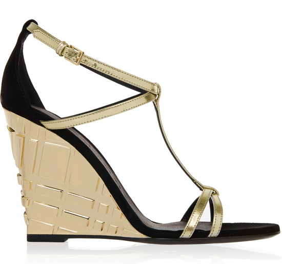 Burberry metallic leather and suede wedge sandals