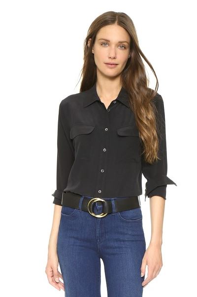 black silk blouse