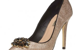 Dorothy Perkins gold 'Frost' lace court shoes