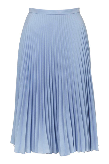 baby blue pleated midi skirt