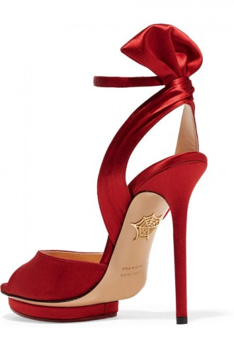 Charlotte Olympia 'Wallace' red satin sandals