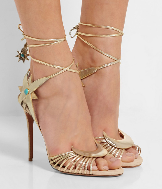 Aquazzura + Poppy Delevingne Midnight metallic leather sandal