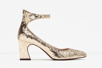 Zara gold glitter mid heel shoes