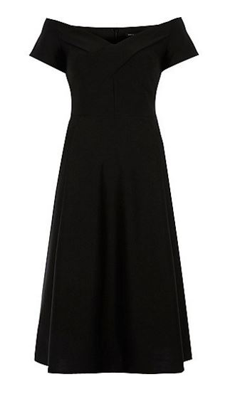 black bardot midi dress