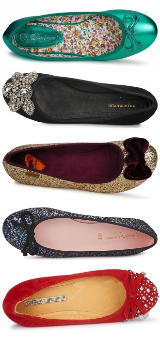 five pairs of festive flats