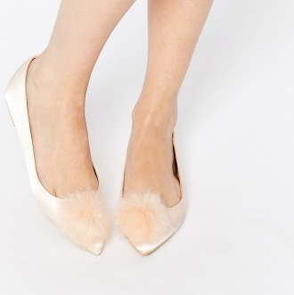 satin ballet flats with pom pom