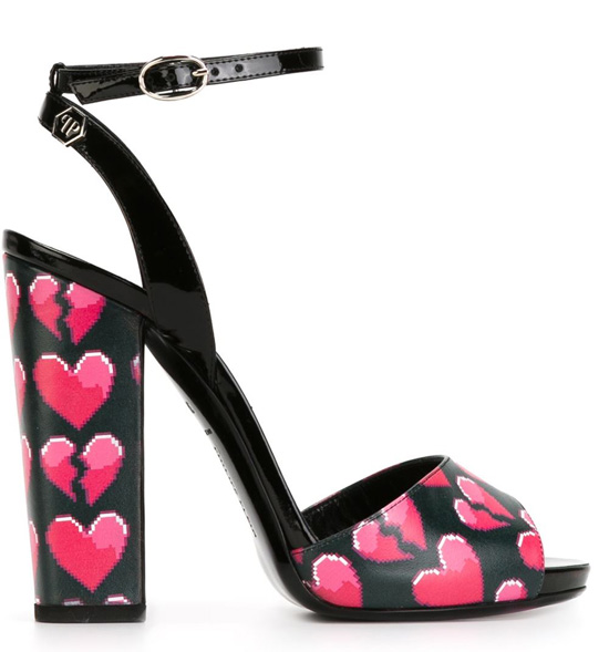 Philip Plein heart print sandals