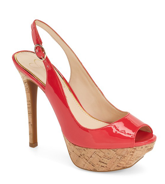 Jessica Simpson red patent slingbacks
