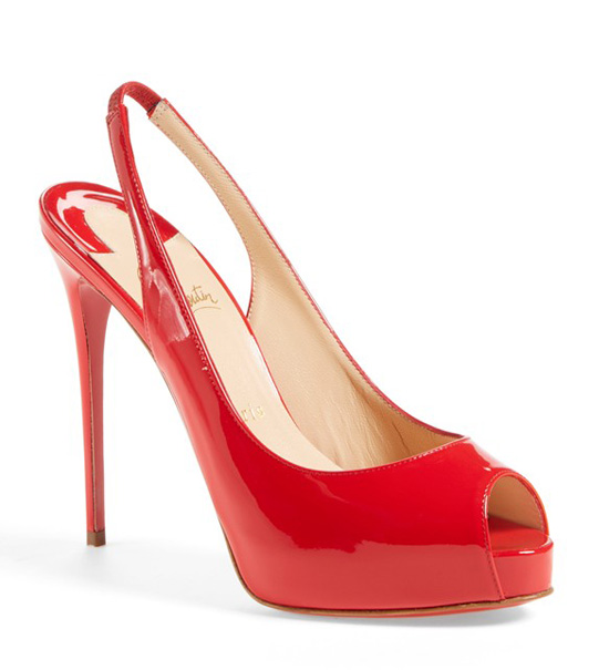 Christian Louboutin 'Private Number' red patent peep toes