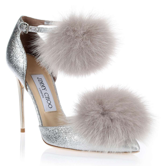 silver pom pom shoes by Jimmy Choo