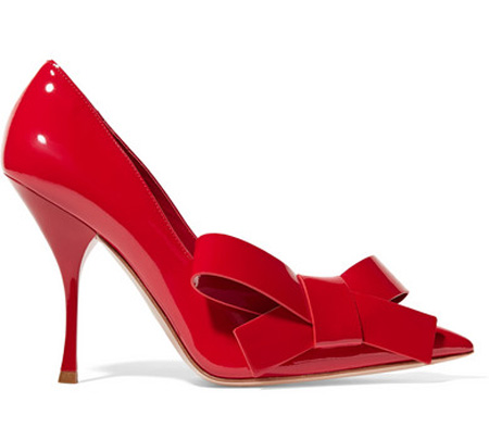 Miu Miu red patent bow-embellished patent-leather pumps