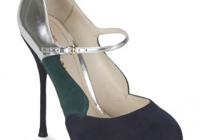 John Galliano suede court shoes