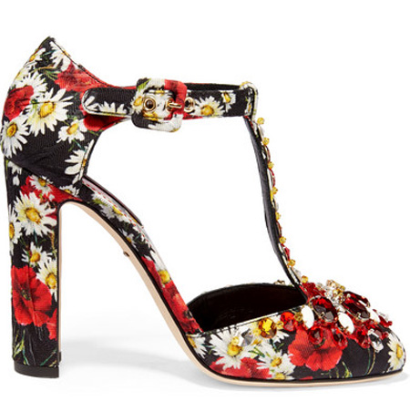 Dolce & Gabbana crystal-embellished printed brocade Mary Jane pumps