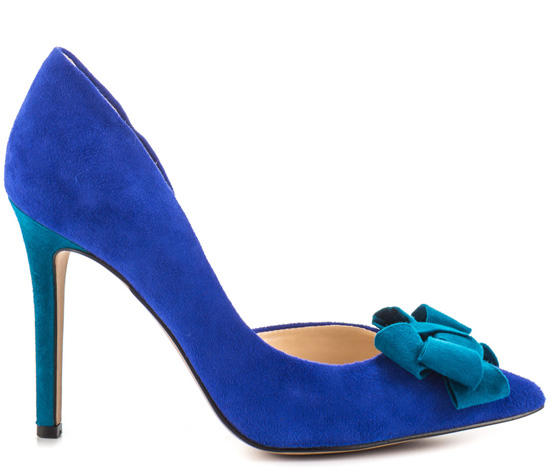 blue pointed bow shoes