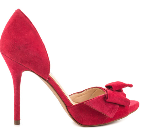 Jessica Simpson red bow peep toes