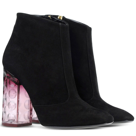 black suede boots with perspex heels
