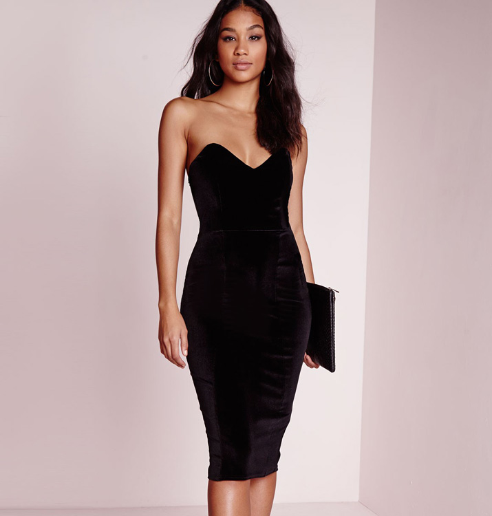 Misguided black strapless dress