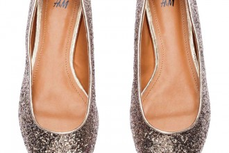 gold glitter ballet pumps