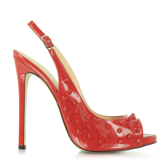red patent slingbacks